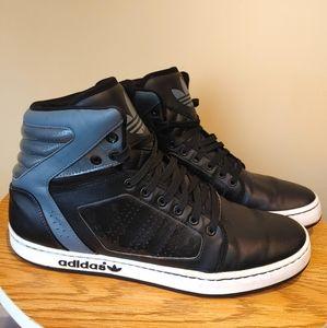 Adidas Originals Men's High top black leather Sneakers size 10.5